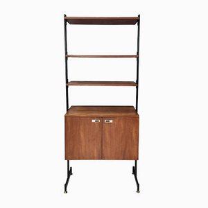 Vintage Minimal Wooden Bookshelf with Brass and Varnished Metal Details, Italy
