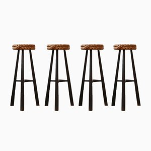 Mid-Century French Rope Cord Bar Stool by Adrien Audoux & Frida Minet