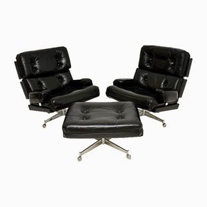 Vintage Leather & Chrome Armchairs & Ottoman by Howard Keith, Set of 2