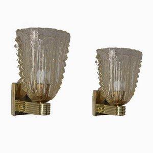 Goldene Pulegoso Wandlampen aus Muranoglas von Barovier, 2er Set