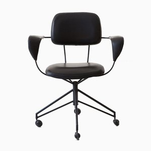 Italian Black Metal and Leatherette Desk Chair by Gastone Rinaldi for Rima