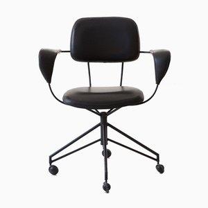 Italienischer Schreibtischstuhl aus Schwarzem Metall & Kunstleder von Gastone Rinaldi für Rima