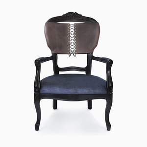 Corset Armchair with Black Leather Back & Black Velvet Seat from Mineheart