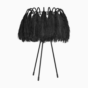 All Black Feather Table Lamp from Mineheart