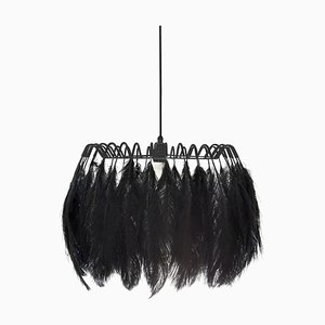 All Black Feather Pendant Lamp from Mineheart