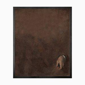 Hand in rot, Gerahmte bedruckte Leinwand von Mineheart