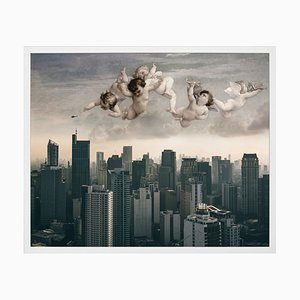 Angels Over City, Framed Medium Printed Canvas from Mineheart