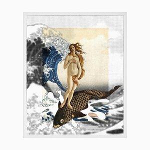 Venus Surfing, Gerahmte Bedruckte Leinwand von Mineheart
