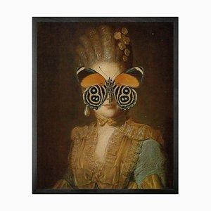 Mittelgroßes Portrait von Schmetterling in Orange und Grün von Mineheart