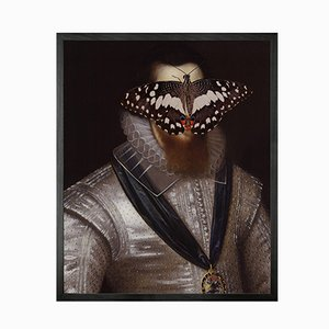 Portrait of Black and White Butterfly on Man Large von Mineheart