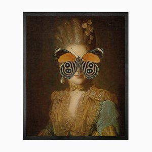 Portrait of Orange and Green Butterfly on Lady Large von Mineheart