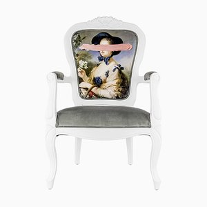 Pink Mark Portrait Printed Armchair from Mineheart