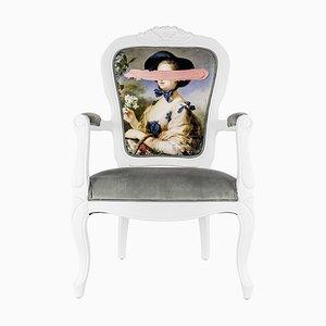 Poltrona con stampa ritratto rosa di Mineheart