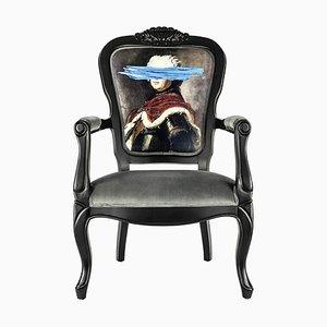 Fauteuil Blue Mark en Imprimé Portrait de Mineheart
