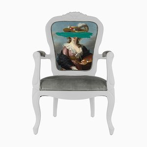 Light Blue Mark Portrait Printed Armchair from Mineheart
