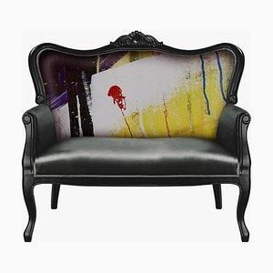 Graues Samt Sofa mit Weißem Schmetterling von Mineheart