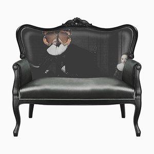 Graues Samt Sofa mit Graffiti Grafik von Mineheart