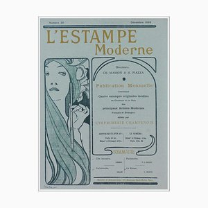 Alphonse Mucha, Original Cover of L'Estampe Moderne, 1898, Original Lithograph