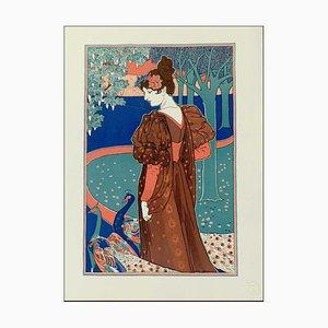Litografia di Louis Rhead, La femme au paon, 1898, Original