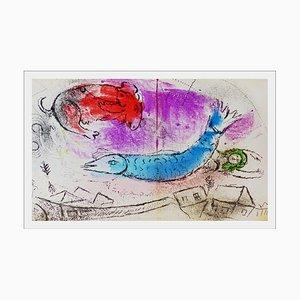 Litografia originale di un pesce blu, 1963, Marc Chagall