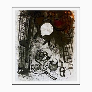 Litografia originale firmata Cha Chaall, natura morta marrone, 1957