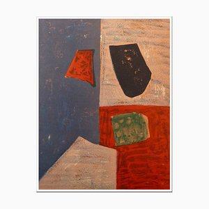Litografia Serge Poliakoff, rosa, rosso e blu, 1958