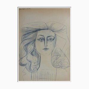 Litografia Pablo Picasso, Portrait Jacqueline II, 1954
