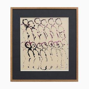Arman, Footprints of Dolls, 1950, Acryl auf Papier