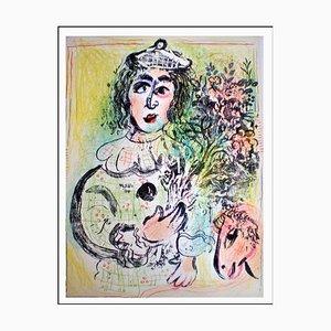 Marc Chagall, Der Clown mit Blumenstrauß, 1963, Originale Lithographie