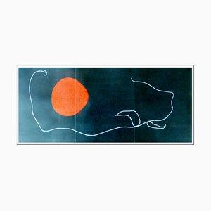 Litografia Joan Miro, composizione su sfondo nero, 1961, Litografia originale