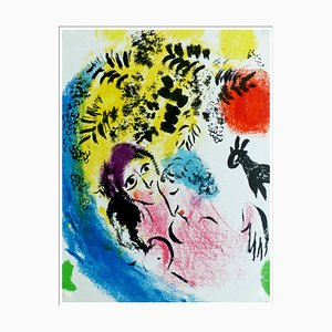 Litografia originale di Marc Chagall, Lovers in the Red Sun, 1960