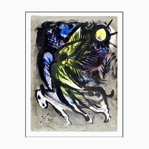 Litografia originale firmata L'angelo che vola sopra la foresta, Marc Chagall, 1960