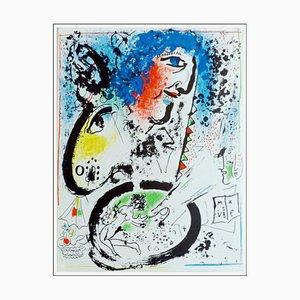 Lithographie Originale par Marc Chagall, Autoportrait, 1960