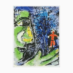 Litografia originale di Marc Chagall, The Profile and the Red Child, 1960
