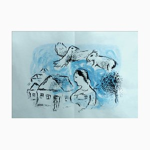 Litografia originale di Marc Chagall, The Village, 1977