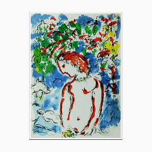 Litografia originale di Marc Chagall, primavera, 1972