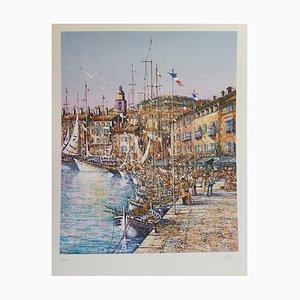 Antoine Valdi, Café Des Arts in Saint Tropez, Quai Suffren in Saint-Tropez, Lithograph, Set of 2