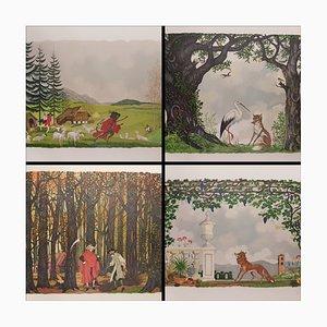 Henry Lemarie, Holzschnitt-Set, Les Fables De La Fontaine