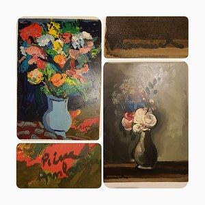Pierre Ambrogiani, Blumensträuße, Holzschnitte, 2er Set