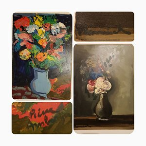 Pierre Ambrogiani, Flower Bouquets, Woodcuts, Set of 2