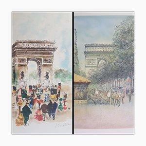 Urban Huchet, The Arc De Triomphe, Lithographien, Set of 2