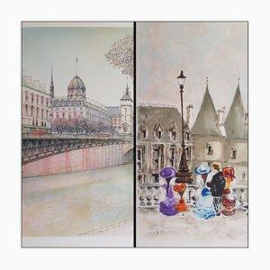 Urbain Huchet, La conciergerie, Lithographien, Set of 2