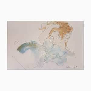 Lithographie par Alain Bonnefoit, Portraits de Femmes, Signée à la Main