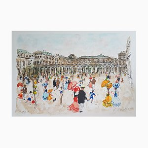 Urban Huchet, The Royal Palace, Lithograph Signed in Pencil