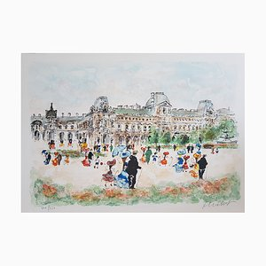 Urban Huchet, The Louvre Palace, Lithograph Signed in Pencil
