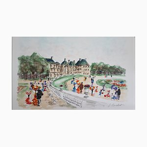Urban Huchet, Le Jardin du Luxembourg, Lithograph Signed in Pencil