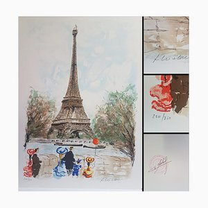 Urban Huchet, The Eiffel Tower, Lithograph Signed in Pencil