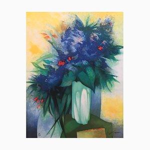 Claude Gaveau, Blaue Blumen Vase, Lithographie mit Bleistift signiert