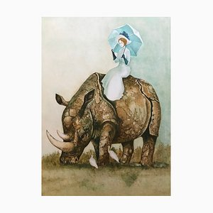 Stanislas Lepri, Young Woman with a Rhinoceros, Lithograph Signed in Pencil
