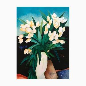 Claude Gaveau, Blumenstrauß mit Porzellanvase, handsignierte Lithographie